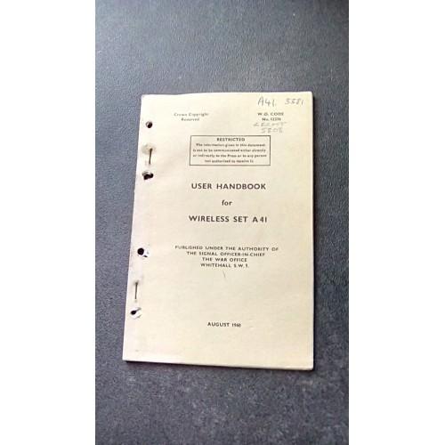 USER HANDBOOK FOR WIRELESS SET A41