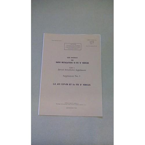 LARKSPUR USER HANDBOOK RADIO INSTALLATIONS IN FFR B VEHICLES  PART 6 SUPP 3