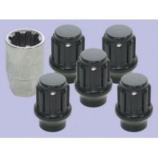 SET OF 5 WHEEL NUTS AND KEY