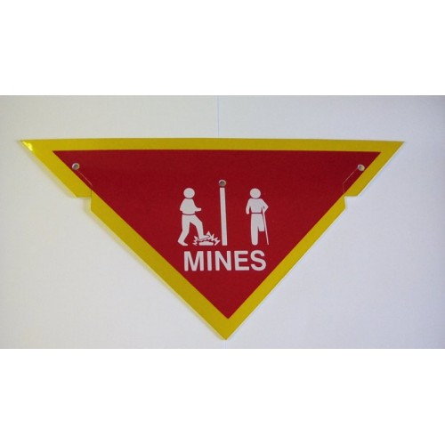 DANGER MINES SIGN TRIANGLE RED / YELLOW