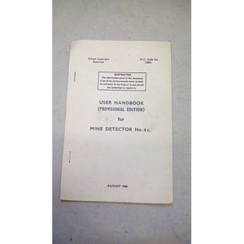 USER HANDBOOK MINE DETECTOR NO.4C
