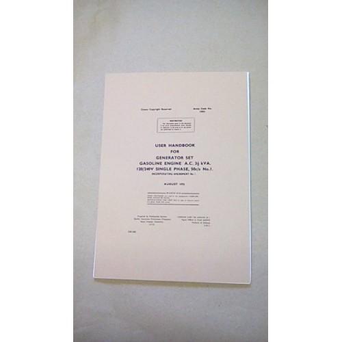 USER HANDBOOK GENERATOR SET AC 3.1/2 KVA