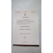 SPRINGER VEHICLE MAINTENANCE INSTRUCTIONS