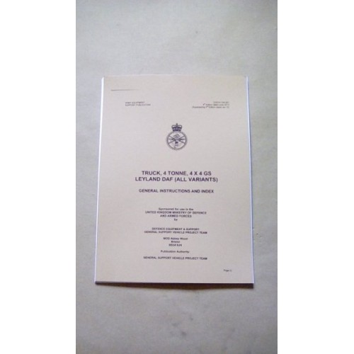 TRUCK 4 TON LEYLAND/DAF GENERAL INSTRUCTIONS AND INDEX