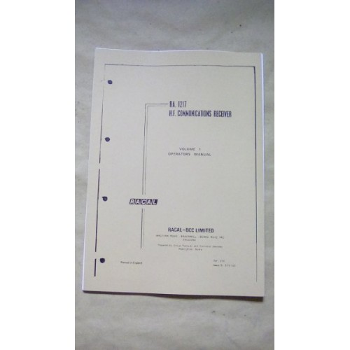 RACAL RA1217 HF RECEIVER OPERATORS MANUAL