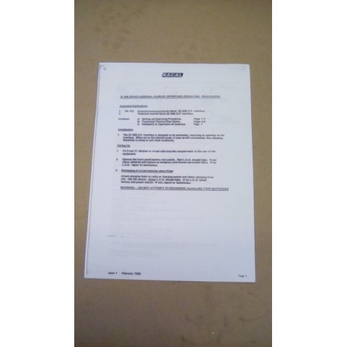 RACAL 2C 806 SERIES INTERFACE OPERATORS PAMPHLET