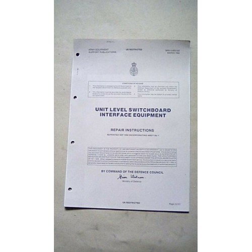PTARMIGAN UNIT LEVEL SWITCH BOARD REPAIR INSTRUCTIONS